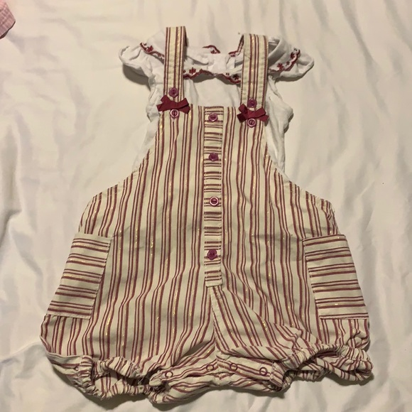 4/$10 nannette kids overalls with matching shirt